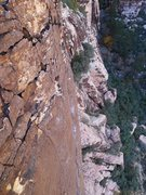 """Rock Climbing Photo: one of the """"easier"""" sections on upper P2"""