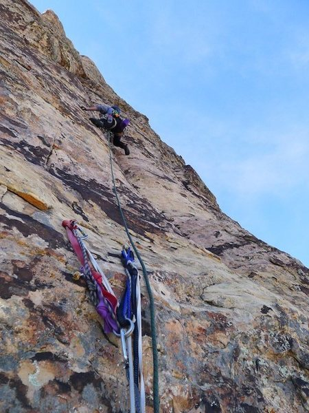 Rock Climbing Photo: Brian leading P7