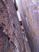 "Rock Climbing Photo: where I had ~1.5"" of clearance between my nos..."