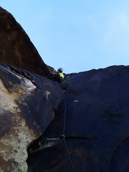 Rock Climbing Photo: Mo staring up from our second belay. I broke up P2...