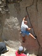 Rock Climbing Photo: Mike starting up Tribe Called Conquest (V5 R), Tra...