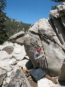 Rock Climbing Photo: Will cruising on Joe's Crack (V0), Tramway
