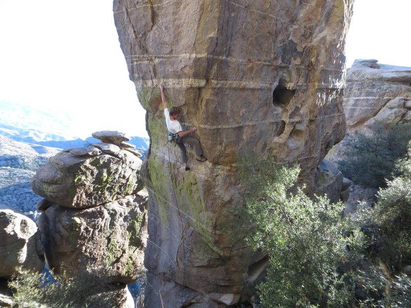 Rock Climbing Photo: Mico figuring out the right-side method in the cru...