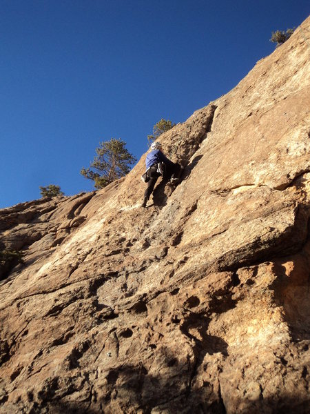 George glides up around the crux.