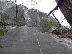 Rock Climbing Photo: Shannon at the base of the corner on Grand Delusio...