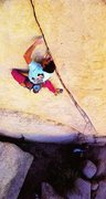 Rock Climbing Photo: Randy Leavitt on 5 Crying Cowboys (5.12b), Joshua ...