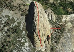 Rock Climbing Photo: Approximate West Face route from space!  Arrow poi...