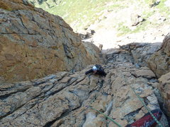 Rock Climbing Photo: Looking down from the top of our first pitch.  I t...