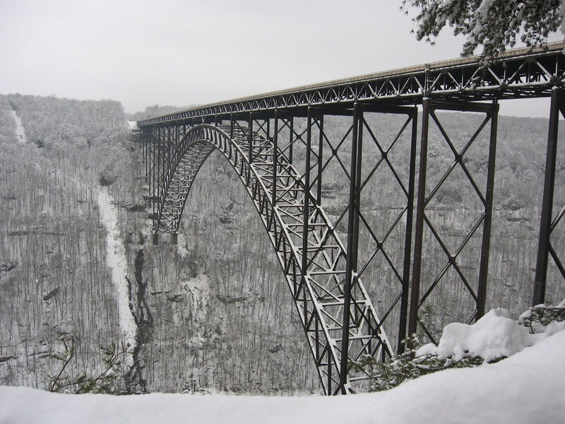 The New River Gorge Bridge in winter. 3' of snow.
