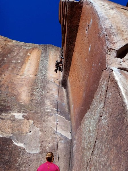 Rock Climbing Photo: Stemming up high on Not My Cross to Bear.