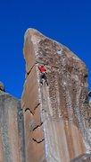 Rock Climbing Photo: Ty up high on Bullet the Blue Sky.