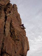 Rock Climbing Photo: Mark caught in nice lighting near the end of the d...