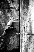 Rock Climbing Photo: Larissa about to begin Carpet Crack