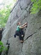 Rock Climbing Photo: Larissa beginning Oh My Eyes!