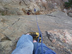 Rock Climbing Photo: Looking down from the anchor.