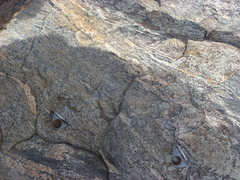 Rock Climbing Photo: Bolts above the arete.  You need long runners.