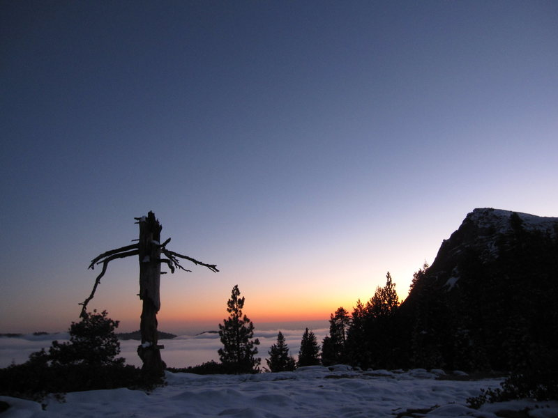 Sunset on a beautiful day....who says eight inches of snow means the climbing season is over? (November 2012).