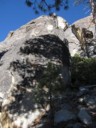 Rock Climbing Photo: Looking up at the first two pitches from base of t...