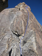 Rock Climbing Photo: The third and fourth pitch with the line we took s...