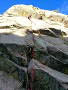 Rock Climbing Photo: Adam Mitchell after aiding through the crux and le...