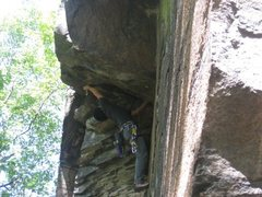 Rock Climbing Photo: Climber on Rags To Riches. He is placing gear in t...