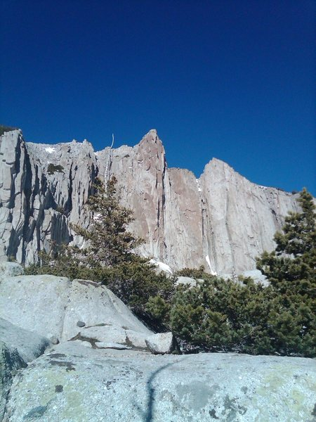 Looking at the summit wall from base camp June 2012