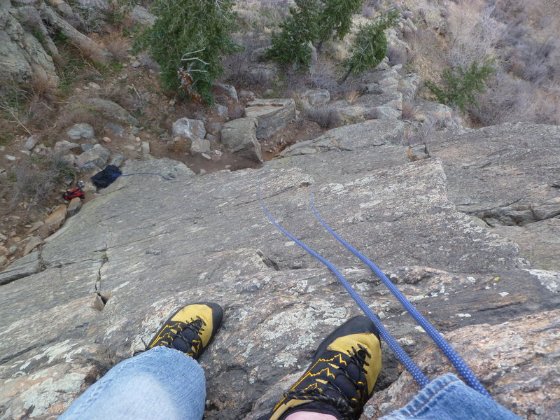 Rock Climbing Photo: Looking down the route from the anchors.