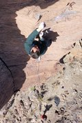 "Rock Climbing Photo: Finishing the crux of ""Thorazine Dream""."