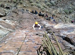 """Rock Climbing Photo: Chelly coming up P1 of """"Hell Boy""""."""
