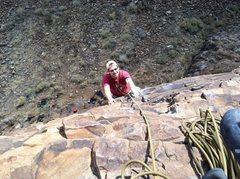 "Rock Climbing Photo: Scott helping me clean ""Grape Ape"" in th..."