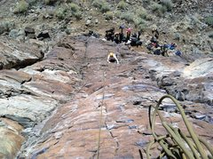 "Rock Climbing Photo: Chelly on P1 of ""Hell Boy""."