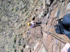 """Rock Climbing Photo: Chelly rapping off of """"Hell Boy""""."""