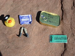 Rock Climbing Photo: Some of the contents in the summit register.  Cast...