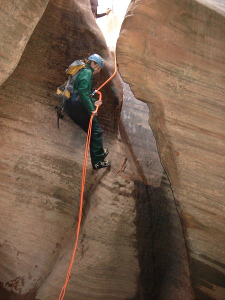 Rapping into cold water.  Keyhole Canyon, Zion, March 2012