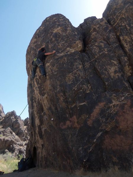Somewhere up this unlisted route, remember not to allow the rope behind your legs kids...