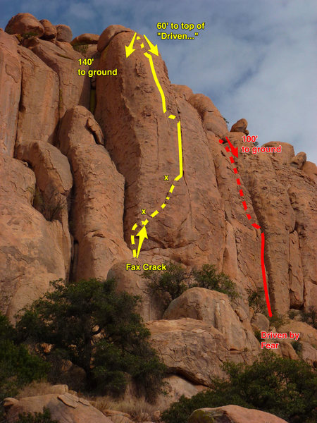 """Rock Climbing Photo: """"Crackathon"""" area from the base. """"F..."""