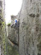 Rock Climbing Photo: Jay follows and brings gear to the top on the FA. ...