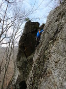 Rock Climbing Photo: Lincoln on the FA with Tequila Sunrise in the back...