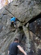 Rock Climbing Photo: Jonathan on an early wet attempt