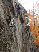 Rock Climbing Photo: (Left) James Dickson cleans Pin Me Up Scotty, (Mid...