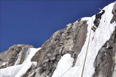 Rock Climbing Photo: Fritz on Trucksicle, his 2nd ice pitch ever, 11/30...