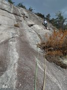 Rock Climbing Photo: Rad Dawg on P3. The route goes up the obvious clea...