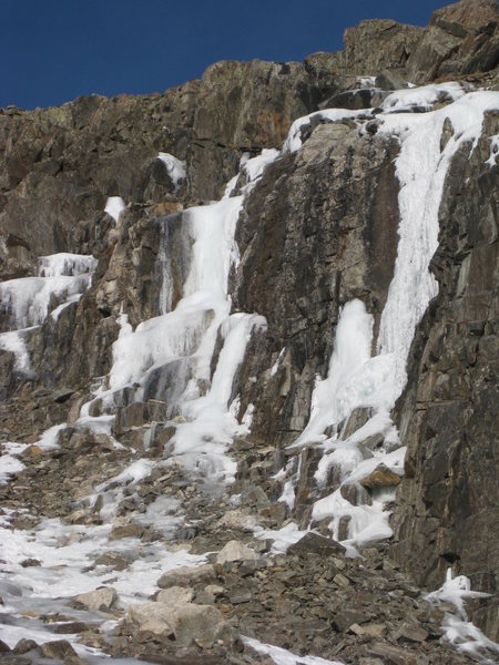 Trucksicle (right) and ice downclimbs (left) on 11-30-12.