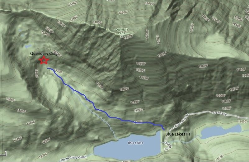 A topo showing the location of crag and trailhead. A well worn trail is worth finding if snow levels are minimal.