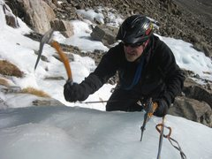 Rock Climbing Photo: Fritz completes his first multi-pitch ice climb, 1...