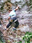 Rock Climbing Photo: Todd styling on the opening moves.