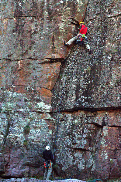 Exploring new areas is one good reason to climb in central Arizona. Mike Knarzer on Ride the Lichen's first pitch on the first ascent.