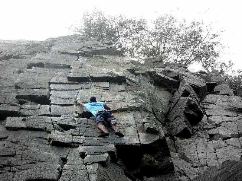 Climbing at Taylors Falls, Minnesota.