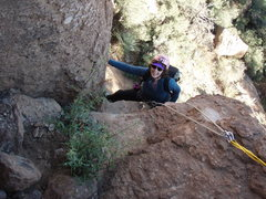 """Rock Climbing Photo: Suzanne tops out on """"Dihedral"""""""