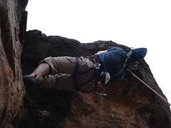 Rock Climbing Photo: Roof, last move